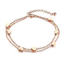 Elegant Heart Love Charm Bracelets Womens Rose Gold Stainless Steel Chain Bangle