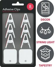 Self Adhesive Spring Clips White, Sticky Clip Tapestry Hanger, Wall Clips 8 Pack