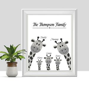 Personalised Family Print, Giraffe Housewarming Gift, Mum, Dad, Baby, Children