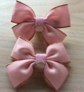 2 Girls Pale Pink & Gold Handmade Ribbon  Hair Bows / Clasps / Clips