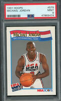 Michael Jordan Team USA Dream Team 1991 Hoops Basketball Card #579 Graded PSA 9