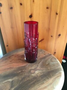 Aseda Sweden Vase 60s Art Glass  Bo Borgstrom Brutalist Bark 24cm Retro Decor