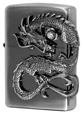 Zippo Dragon 2-Sides Metal Antique Nickel Silver Finish Japan Limited Rare Cool