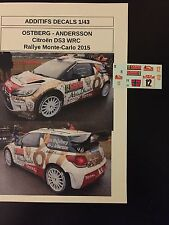 DECALS 1/43 CITROEN DS3 WRC MADS OSTBERG RALLYE MONTE CARLO 2015 RALLY DIECAST