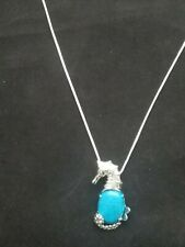 Turquoise Seahorse Necklace Gemstone Pendant on Sterling Silver Chain