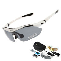 RockBros Polarized Cycling Sunglasses Bike Goggles Ride Hike Glasses White UV400