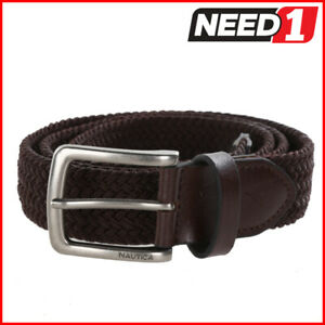 Nautica Men's Handcrafted Woven Stretch Belt, Elastic Rubber/Leather, Brown