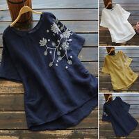 ZANZEA Women Summer Crew Neck Retro Floral Blouse Tee T Shirt Short Sleeve Top