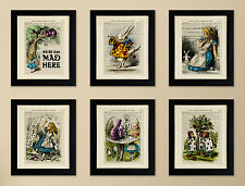 SET OF 6 ART PRINTS ON OLD ANTIQUE BOOK PAGE, Alice in Wonderland, White Rabbit