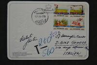 1985 Denmark Postcard Queen Lifeguard Embossed Postage Due Xmas Cinderella Stamp