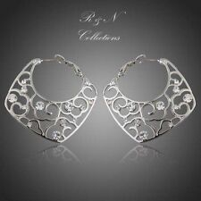 Platinum Plated Transparent Made With Swarovski Austrian Crystal Hoop Earrings