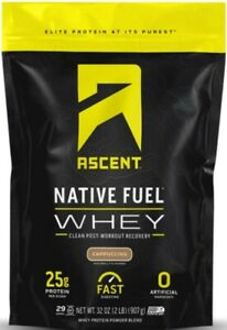 CAPPUCCINO !!! Ascent Native Fuel Whey Protein Powder Blend - 2 lbs -