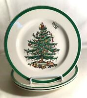 "3 Spode Christmas Tree 7 3/4"" Salad Plates England Backstamp"
