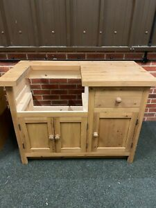 4ft Freestanding Solid Wood Kitchen Unit For Belfast Sink Medium Oak - Beautiful