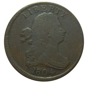 Half cent/penny 1804 rare plain 4 with stems