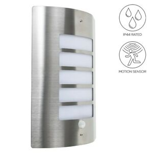 Outdoor PIR Bulkhead Wall Lantern IP44 Rated Stainless Steel Garden Wall Light