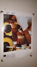 VINTAGE 1976 MONTREAL OFFICIAL COJO OLYMPICS POSTER  WEIGHTLIFTING & SOCCER