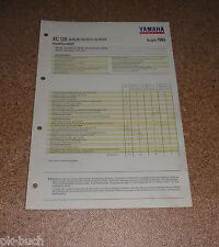 Inspektionsblatt Yamaha XC 125 Typ 3TE Baujahr 1993