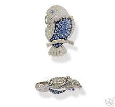 Sapphire Parrot Pin Brooch 18K Wg Pave Diamond