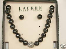 Ralph Lauren Graphite Gray Pearl Necklace Earrings Gift Set  NWT