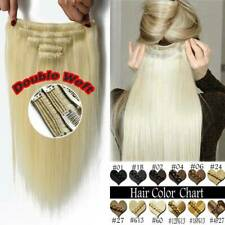 BLONDE Thick Double Weft Clip In 100% Remy Human Hair Weave Extensions Full Head