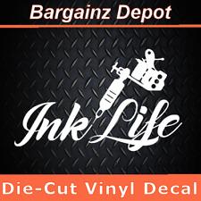 Vinyl Decal * INK LIFE * Tattoo Gun Artist Parlor Biker Tat Tatted Inked Sticker