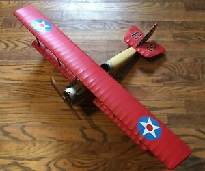 "WWI Flying Circus Airplane Curtiss Jenny JN4 Biplane 31""X20"" Wood Model Aircraft"
