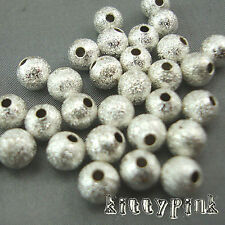 30 5mm Silver Plated Stardust Round Spacer Beads