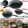 3Pcs Cast Iron Non-Stick Frying Pan Set Black Barbecue Grill Fry BBQ Skillet New
