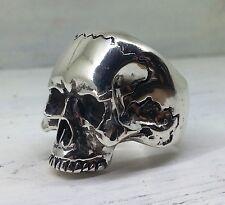 Sterling Silver Keith Richards Skull Ring Large Biker  Rock Style