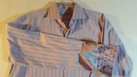Men's Robert Graham Grey Striped Shirt with Flip Cuff & Bold Pattern ~ Sz L/XL