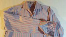 Men's Robert Graham Grey Striped Shirt with Flip Cuff & Bold Pattern ~ Sz L/XL