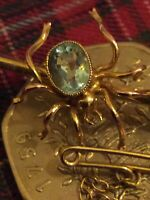 Vintage 1921 CHESTER 9Ct. Gold Spider Insect Bar Brooch-Ward Bros. Aquamarine