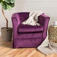 Rischa Fushsia New Velvet Swivel Chair with Loose Cover