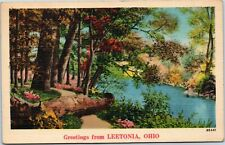 postcard Ohio - Greetings from Leetonia -  river in woods - NYCE