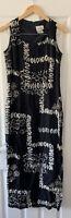 JOSEPH RIBKOFF BLACK PRINT LONG MAXI DRESS UK 12