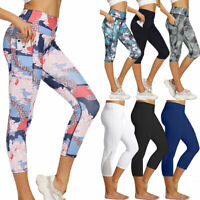 Womens 3/4 Capri Yoga Pants Gym Fitness Running Cropped Leggings With Pockets R1