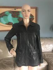 Liz Claiborne Black Butter Soft Leather Jacket Zipper Front Coat Distressed S