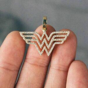 0.14Ct White Round Cut Diamond Wonder Woman Pendant in 14K Yellow Gold Plated