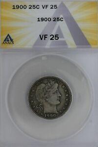1900  .25  ANACS   VF 25   Barber Quarter, Liberty Head Quarter, Barber 25c,