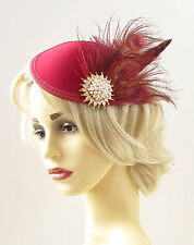 Burgundy Red Gold Ivory Feather Fascinator Pillbox Hat Hair Clip Races Vtg 1253