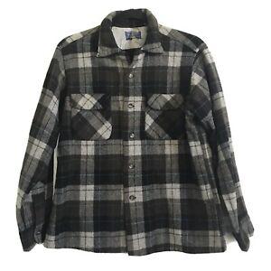 Vtg PENDLETON Brown Black Gray Plaid Board Shirt Loop Collar Pockets Wool Large