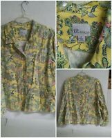 Womens the TOG Shop XL Floral Yellow Long Sleeve Button Front Heacy Shirt