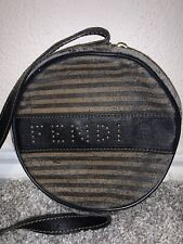Fendi Womens Vintage Brown Striped Leather Round Crossbody Bag Very Rare