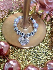 Personalised Happy Retirement  PEARL WINE GLASS CHARM gift idea friend colleague