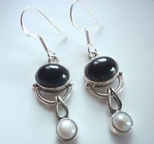 Cultured Pearl and Black Onyx 925 Sterling Silver Dangle Earrings Corona Sun