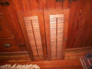 """2 Panels Vintage Louvered Stained Wooden Shutters 8"""" X 26""""w/Hardware*Reclaimed*"""