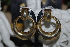 VINTAGE 1980'S COUTURE GOLD TONED METAL COLOR HOOP DOOR KNOCKERS CLIP EARRINGS