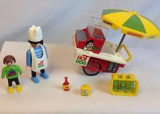 PLAYMOBIL 3848 HOT DOG CART STAND & FIGURES - City Zoo Park Lot - Near Complete