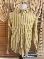 Mens BKE67 Long Sleeve Button Front Yellow/Green/Tan Striped L Large Shirt